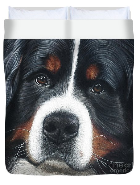 Duvet Cover featuring the painting Up Close by Donna Mulley