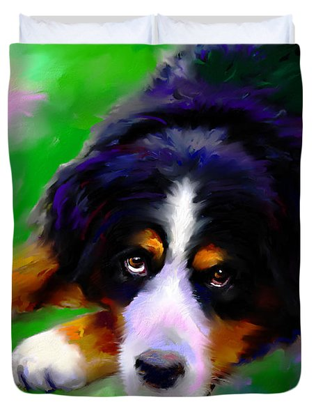 Bernese Mountain Dog Portrait Print Duvet Cover