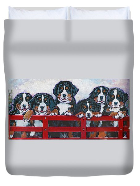 Bernese Mountain Dog Puppies Duvet Cover