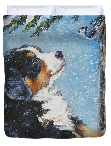 bernese Mountain Dog puppy and nuthatch Duvet Cover