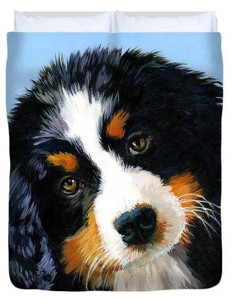 Bernese Mountain Puppy Duvet Cover