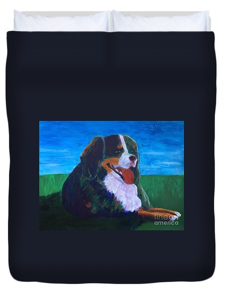 Duvet Cover featuring the painting Bernese Mtn Dog Resting On The Grass by Donald J Ryker III