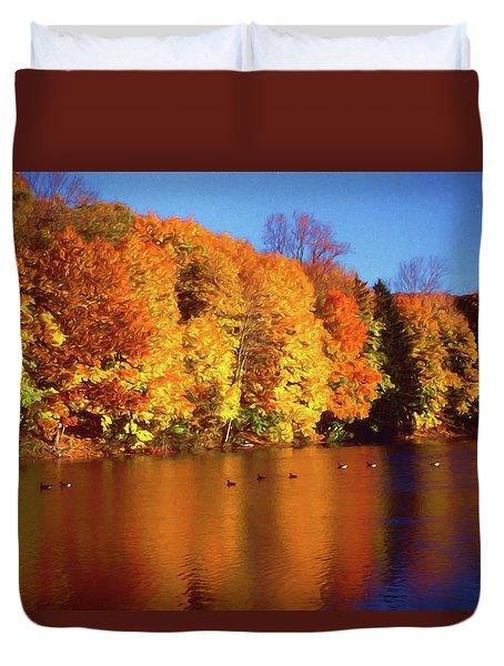 Bernharts Dam Fall 008 Duvet Cover by Scott McAllister