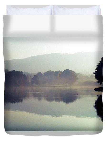 Bernharts Dam Fog 020 Duvet Cover by Scott McAllister