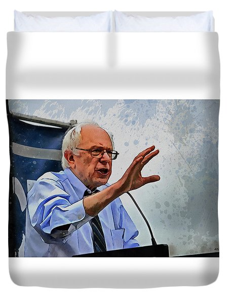 Duvet Cover featuring the painting Bernie Sanders by Kai Saarto
