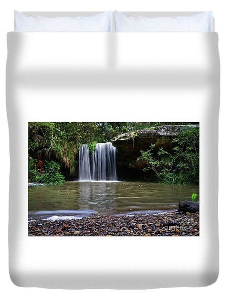 Duvet Cover featuring the photograph Berowra Waterfall by Werner Padarin
