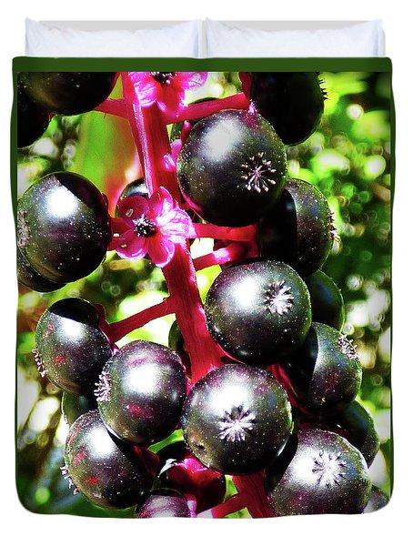 Wild Purple Pokeweed Berries  Duvet Cover