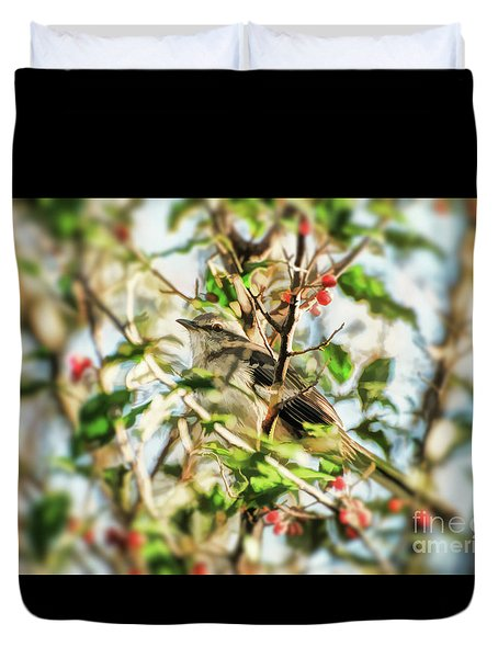 Duvet Cover featuring the photograph Berry Merry Mockingbird by Kerri Farley