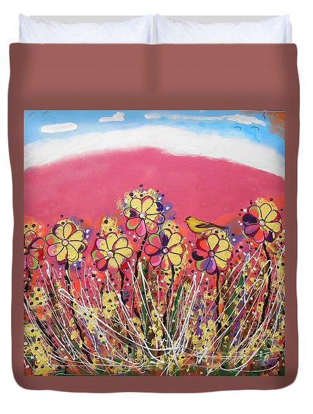 Berry Pink Flower Garden Duvet Cover