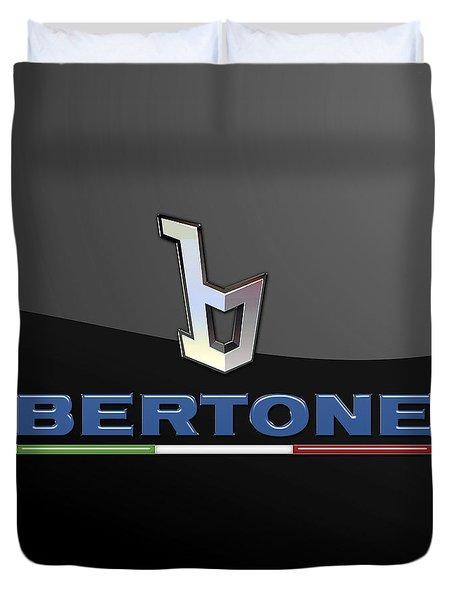 Bertone - 3 D Badge On Black Duvet Cover