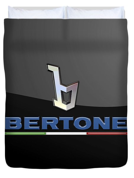 Bertone - 3 D Badge On Black Duvet Cover by Serge Averbukh
