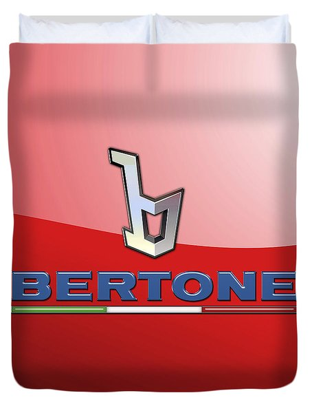 Bertone 3 D Badge On Red Duvet Cover by Serge Averbukh