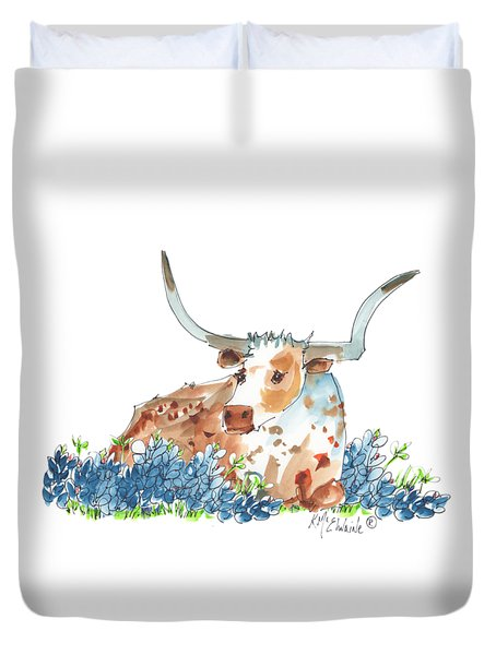 Bessie In The Bluebonnets Watercolor Painting By Kmcelwaine Duvet Cover by Kathleen McElwaine