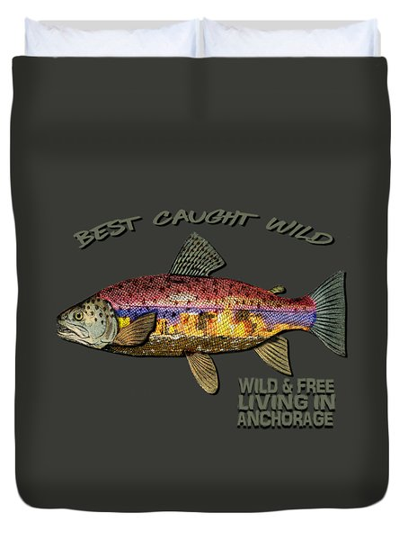 Duvet Cover featuring the digital art Fishing - Best Caught Wild-on Dark by Elaine Ossipov