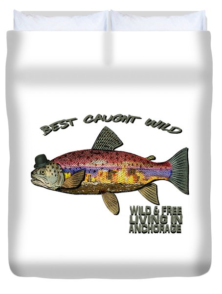 Duvet Cover featuring the digital art Fishing - Best Caught Wild On Light by Elaine Ossipov