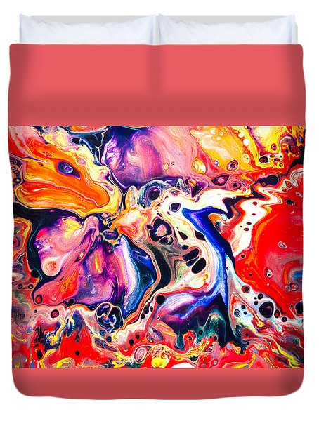 Best Friends  - Abstract Colorful Mixed Media Painting Duvet Cover