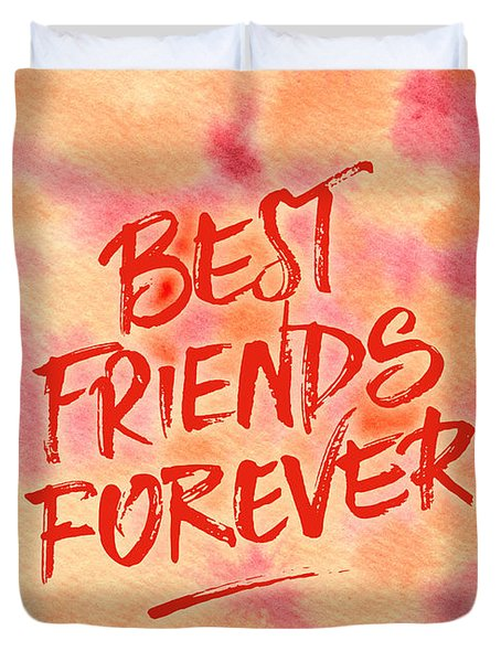 Best Friends Forever Handpainted Abstract Watercolor Pink Orange Duvet Cover