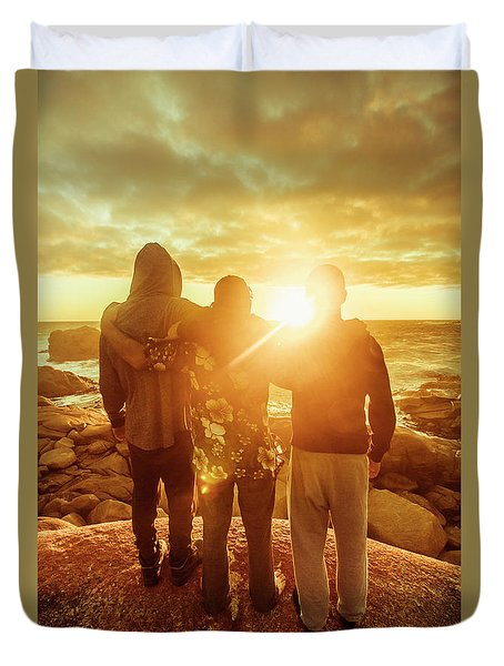 Duvet Cover featuring the photograph Best Friends Greeting The Sun by Jorgo Photography - Wall Art Gallery