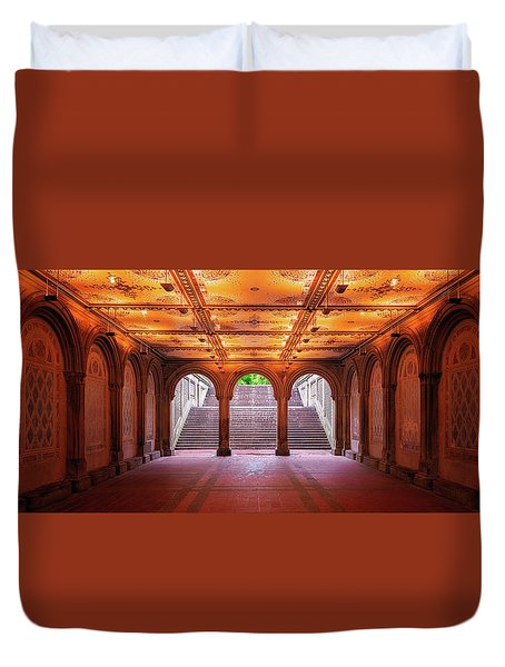 Duvet Cover featuring the photograph Bethesada Terrace by Edgars Erglis