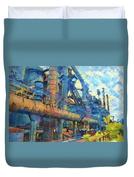 Bethlehem Steel Mill Watercolor Duvet Cover by Bill Cannon