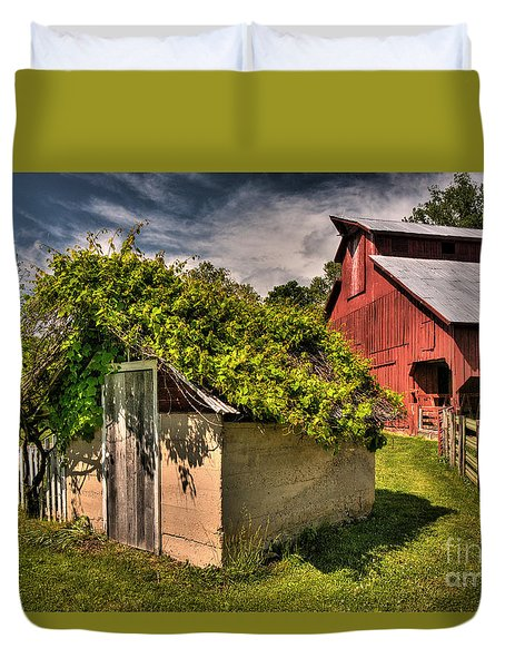 Duvet Cover featuring the digital art Bethlehem Valley Spring House by William Fields