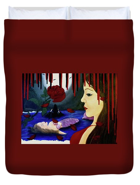 Duvet Cover featuring the painting Betrayal by Teresa Wing