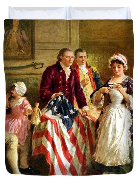 Betsy Ross And General George Washington Duvet Cover