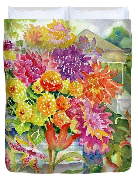 Betsy's Dahlias II Duvet Cover