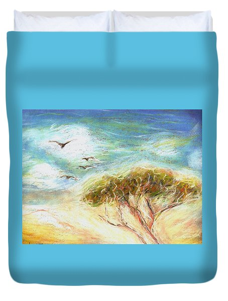 Duvet Cover featuring the drawing Betty's Tree by Denise Fulmer