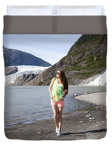 Between Glacier And Waterfall Duvet Cover