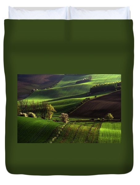 Duvet Cover featuring the photograph Between Green Waves by Jenny Rainbow