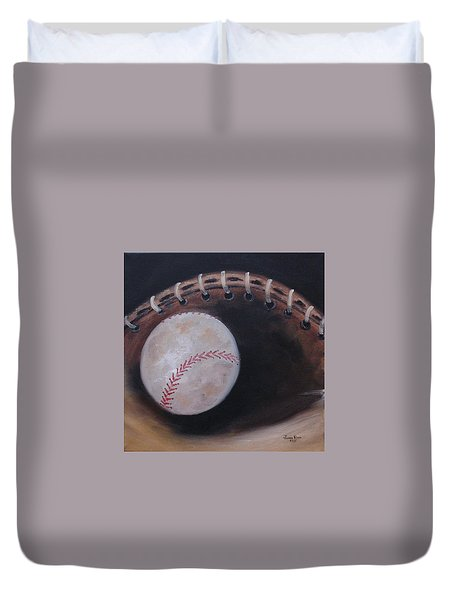 Duvet Cover featuring the painting Between Innings by Judith Rhue