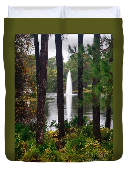 Between The Fountain Duvet Cover by Lori Mellen-Pagliaro