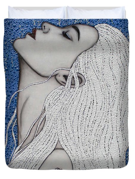 Duvet Cover featuring the mixed media Between The Sea And Sky by Natalie Briney