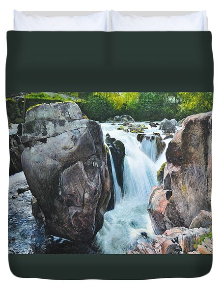 Duvet Cover featuring the painting Betws-y-coed Waterfall In North Wales by Harry Robertson