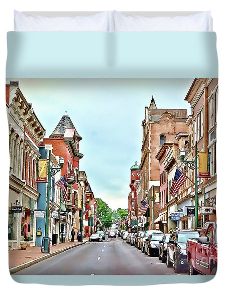 Duvet Cover featuring the photograph Beverley Historic District - Staunton Virginia - Art Of The Small Town by Kerri Farley