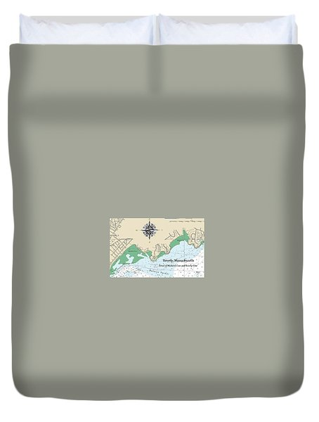 Beverly Cove Nautical Map Duvet Cover