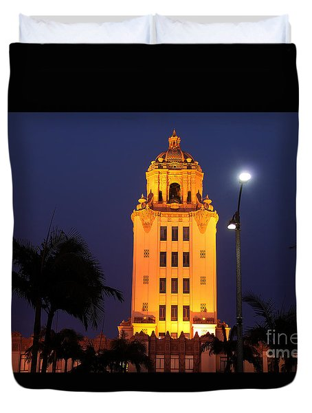 Beverly Hills City Hall Tower Duvet Cover by Wernher Krutein