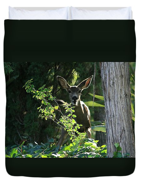 Duvet Cover featuring the photograph Beverly Hills Deer by Marna Edwards Flavell