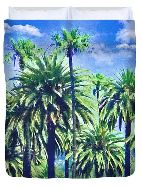 Beverly Hills Palms Duvet Cover