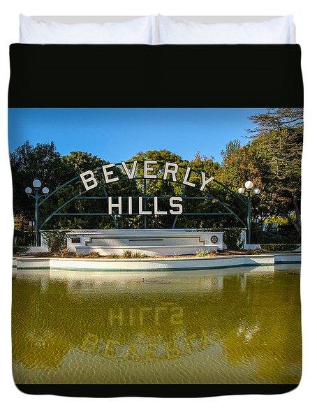 Duvet Cover featuring the photograph Beverly Hills Sign by Robert Hebert