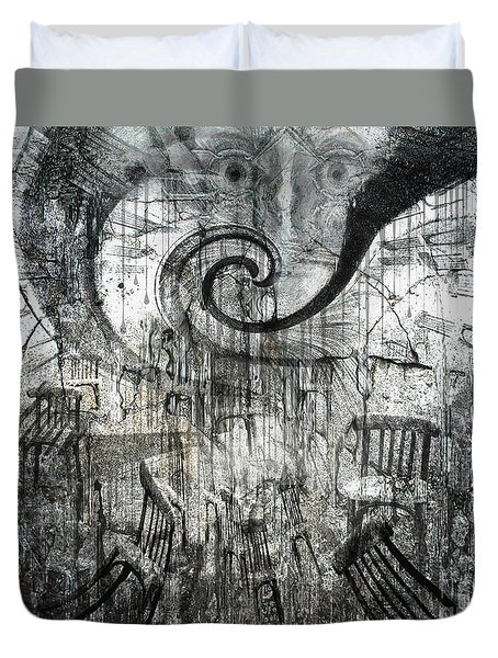 Duvet Cover featuring the digital art Beware Of Darkness by Rhonda Strickland