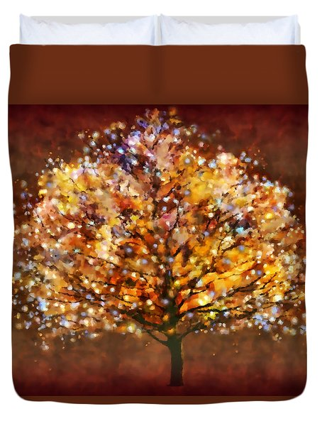 Duvet Cover featuring the digital art Starry Tree by Valerie Anne Kelly