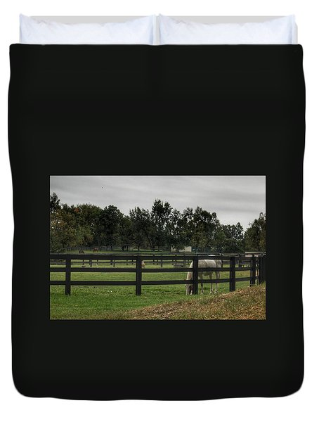 1004 - Beyond The Fence White Horse Duvet Cover