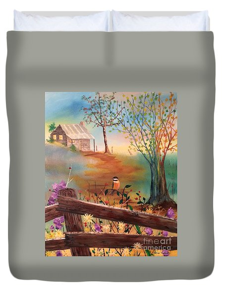Duvet Cover featuring the painting Beyond The Gate by Denise Tomasura