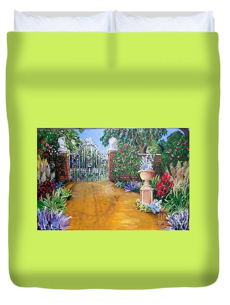 Duvet Cover featuring the painting Beyond The Gate by Saundra Johnson