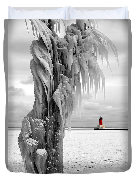 Duvet Cover featuring the photograph Beyond The Ice Reaper's Grasp -  Menominee North Pier Lighthouse by Mark J Seefeldt