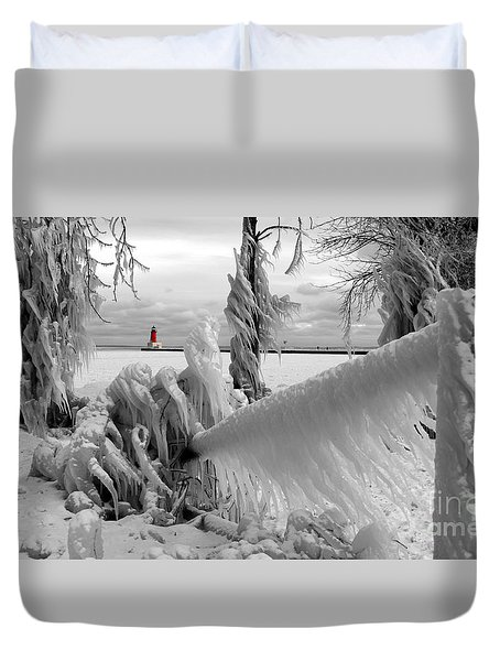 Duvet Cover featuring the photograph Beyond The Icy Gate - Menominee North Pier Lighthouse by Mark J Seefeldt