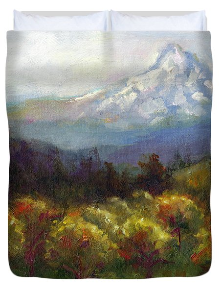 Beyond The Orchards Duvet Cover by Talya Johnson
