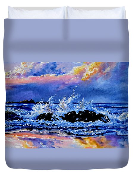 Duvet Cover featuring the painting Beyond The Rocks by Hanne Lore Koehler